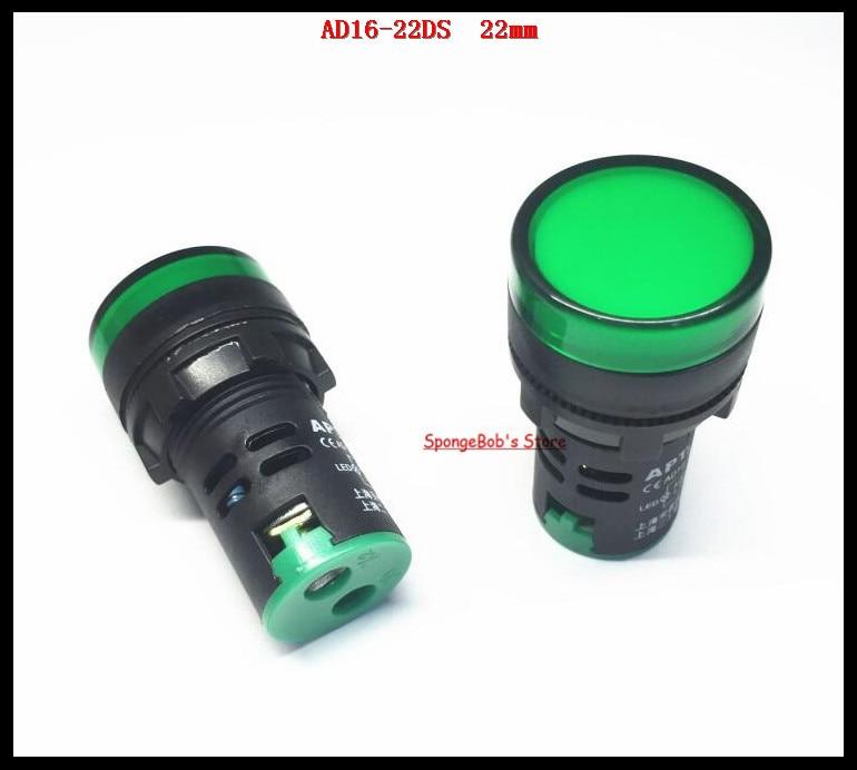 10-20 Pcs/Lot AD16-22D/S 22mm Green AC/DC 12V,24V,36V,110V, AC220V LED Power Indicator Signal Light Pilot Lamp