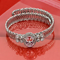 Red /White Crystal Fine Jewelry 18 K Gold-plated Dazzling Metal Elasticity Atmospheric Punk Bracelets & Bangles For Women