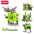4 en 1 diy bloques de construcción electrónica auto robot montado coche de cricket bestia educación transformable juguetes rompecabezas de regalo del muchacho