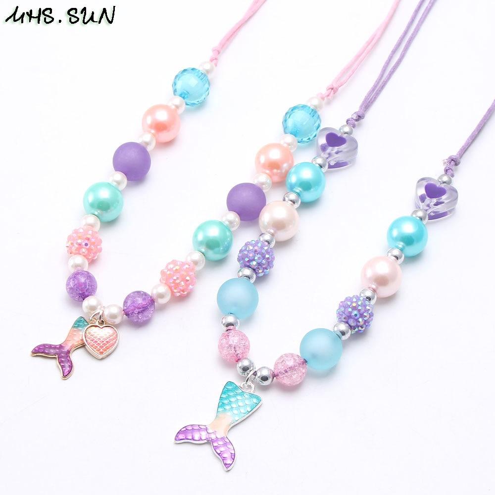 Ожерелье MHS.SUN для маленьких девочек, модное ожерелье с подвеской в виде хвоста русалки, детское регулируемое ожерелье из веревки, очаровате...