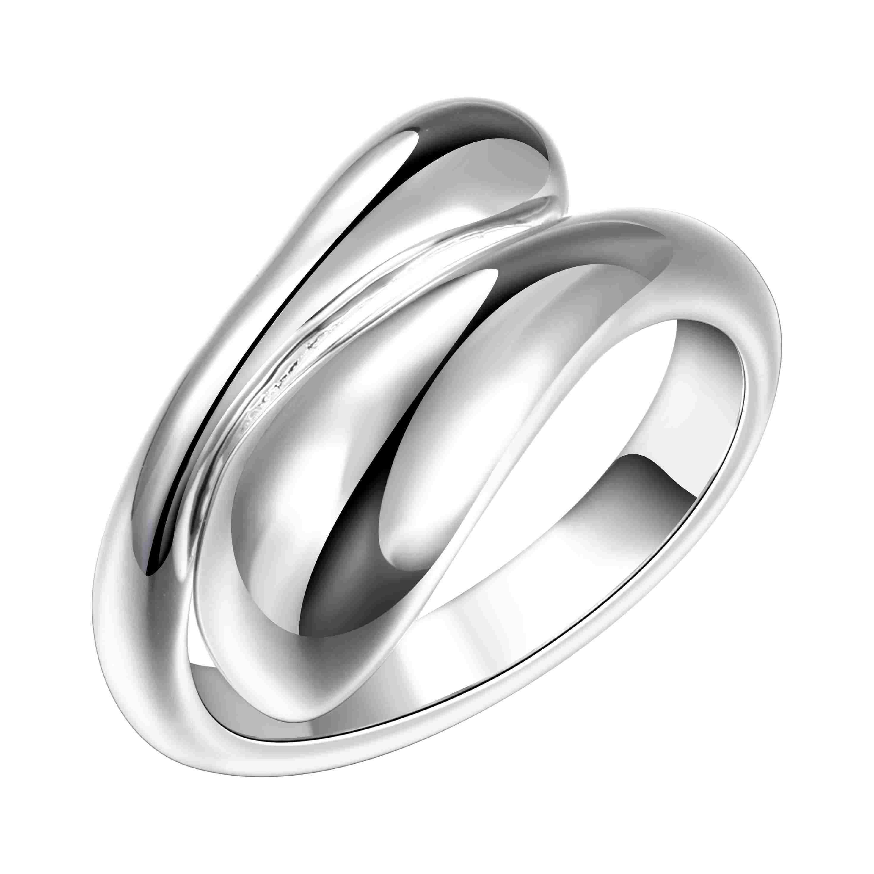 Women Water drop Teardrop Sterling Silver Plated Opening Adjustable Ring