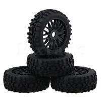 Mxfans Black RC1:8 Off Road Car Rhombus Shaped Rubber Tyre & Plastic Y Type Wheel Rim with 17mm Drive Hex Pack of 4