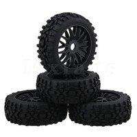 Mxfans Black RC1 8 Off Road Car Rhombus Shaped Rubber Tyre Plastic Y Type Wheel Rim