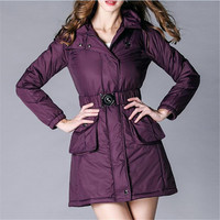Winter Fashion Hooded Warm Waistband Jacket Women Cotton Padded Black Purple Parka Manteau Femme Hiver Winter