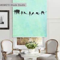 Momo絵画ブラックアウトウィンドウカーテンローラーシェードブラインド熱絶縁生地カスタムサイズ