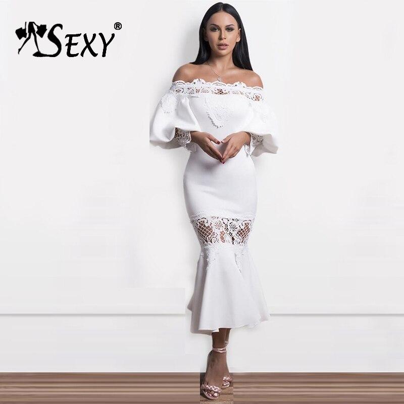 41c08250e1d7 Nuove Della Tromba Donne Manicotto Abito Dal Di Vestito 2018 Dress Bianco  Neck White Randello Del ...