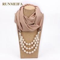 RUNMEIFA шифон подвеска с жемчужиной шарф с украшением в виде подвески Платки женские для женщин шарфы для шеи sjaals voor dames