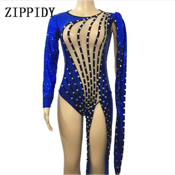 Синий Блестки кристаллы одна нога нерегулярные боди бусинами комбинезон цельный костюм певица Dance производительности наряд этап одежда