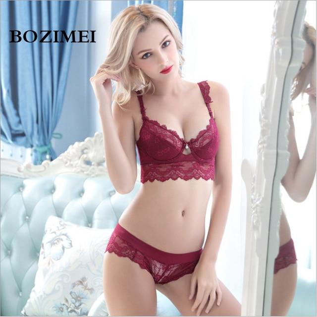 c8f822d84d9 BOZIMEI Women s sexy bra set lace thin cup lingerie set flank wide womens  bras and underwear sets Plus size Adjustable Bras