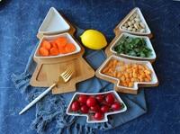 Ceramic bamboo christmas tree tray dessert snack plate snack fruit bowl saucer breakfast salad wobbler