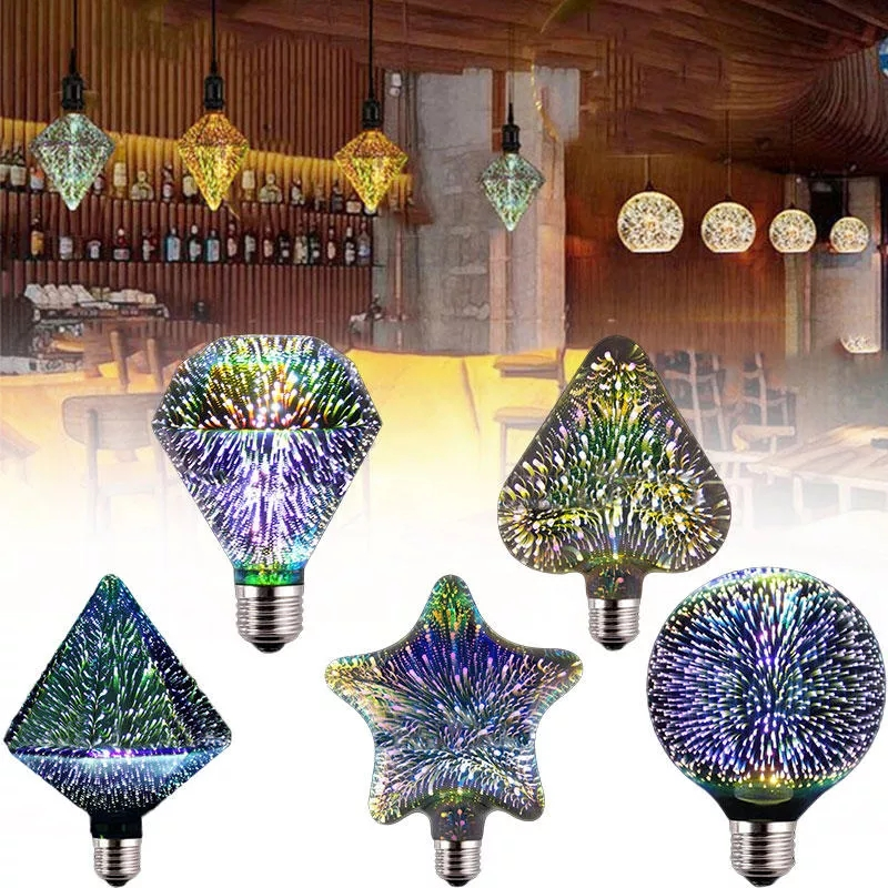 E27 3d Led Retro Edison Decorative Filament Bulbs Led Fireworks Rgb Creative Decorative Light Ac85-265v St64 G95 G125 Fancy Colours