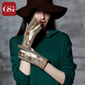 GSG 2016 New TouchScreen Gloves Women Vintage Printing Gloves Genuine Leather Gloves Ladies Mittens Embroidery Floral Gloves