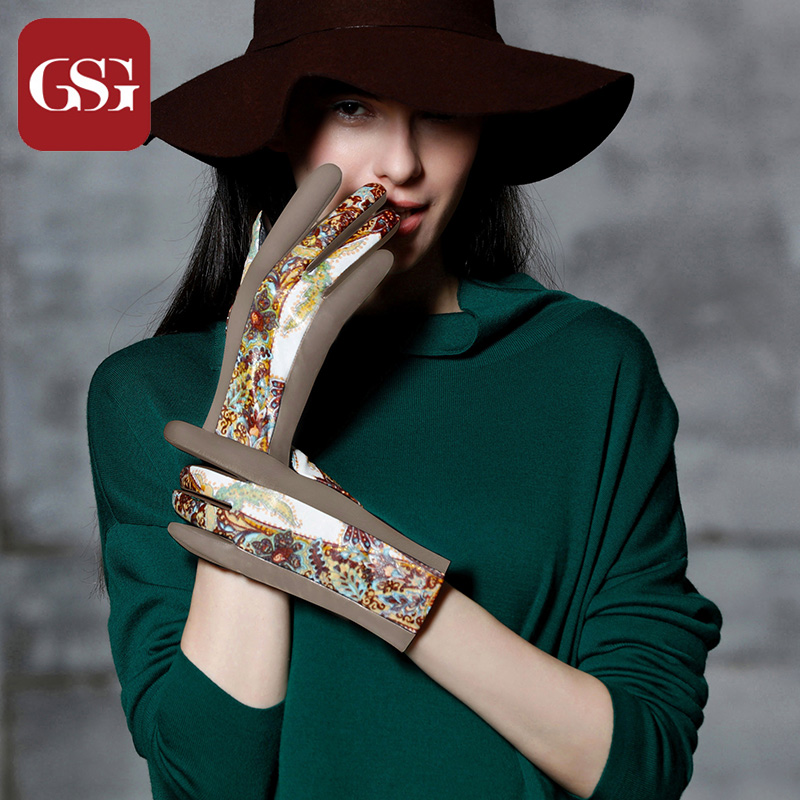 GSG  New TouchScreen Gloves Women Vintage Printing Gloves Genuine Leather Gloves Ladies Mittens Embroidery Floral Gloves