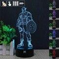 H Y Capitão América em 3D Humor Lâmpada Night Light RGB Mutável LED decorativo candeeiro de mesa de luz dc 5 v usb obter um free controle remoto