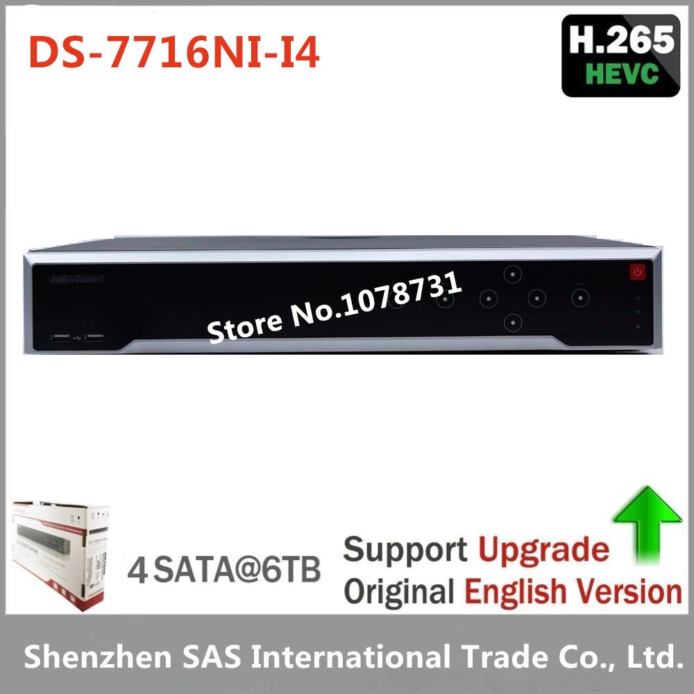 Hikvision Original English Version DS-7716NI-I4 Embedded 4K NVR 16ch 4SATA 12MP Third-party Network Cameras DHL Free Shipping