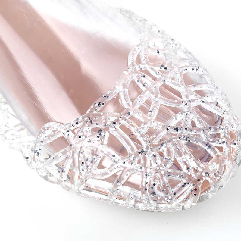 Mulheres Sandálias de Verão Sapatos Sandálias Da Geléia de Moda Casual Oco Out Malha Apartamentos Senhora Menina Sandálias Respiráveis Feminina