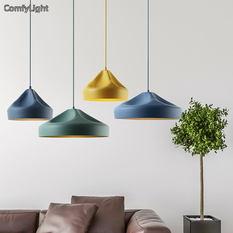 Nordic pendant lamp E27 Iron Lampshade hanglamp Living Room Suspendsion Lighting Fixture Lamparas Colgantes colourful led Lustre nordic pendant lights glass lampshade g4 lustre led lamp art deco lamparas colgantes hanglamp suspension luminaire avize lampen