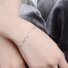 цены LUKENI Latest 925 Sterling Silver Female Anklets Bracelets Jewelry Charm Crystal Zircon Stones Women Bracelets Lady Lovers Gift