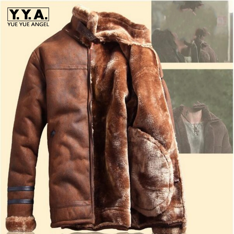 2017 Winter Fashion Mens Stand Collar Coats High Quality Thick Fur Lining Jackets Suede Leather Warm Winter Jacket Vintage Coat