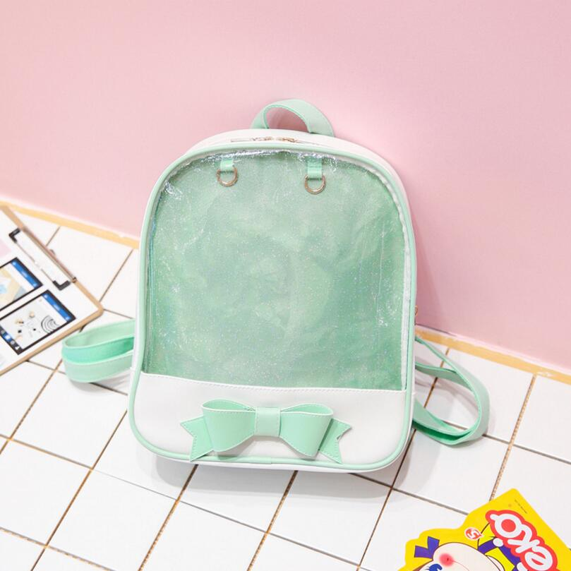 Women backpack Summer Candy Clear Bow Transparent Backpacks PU Leather Solid Color Cute Schoolbags for teenage Girls Ita bag women backpack candy color transparent bag lovely ita bag cat ear pu leather backpacks women bags for schoolbags teenage girls