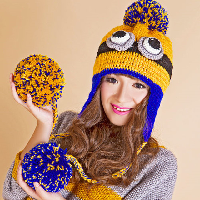 Cute Cartoon Animal Women's Winter Hat with Ear Muffs Thick Warm Beanie Girl Hats with Soft Balls