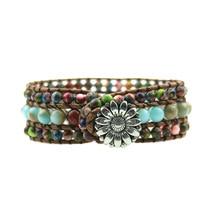 Exclusive Natural Onyx Leather Wrap Bracelet Wholesale Vintage Weaving Beaded Cuff Bracelet Stone Jewelry