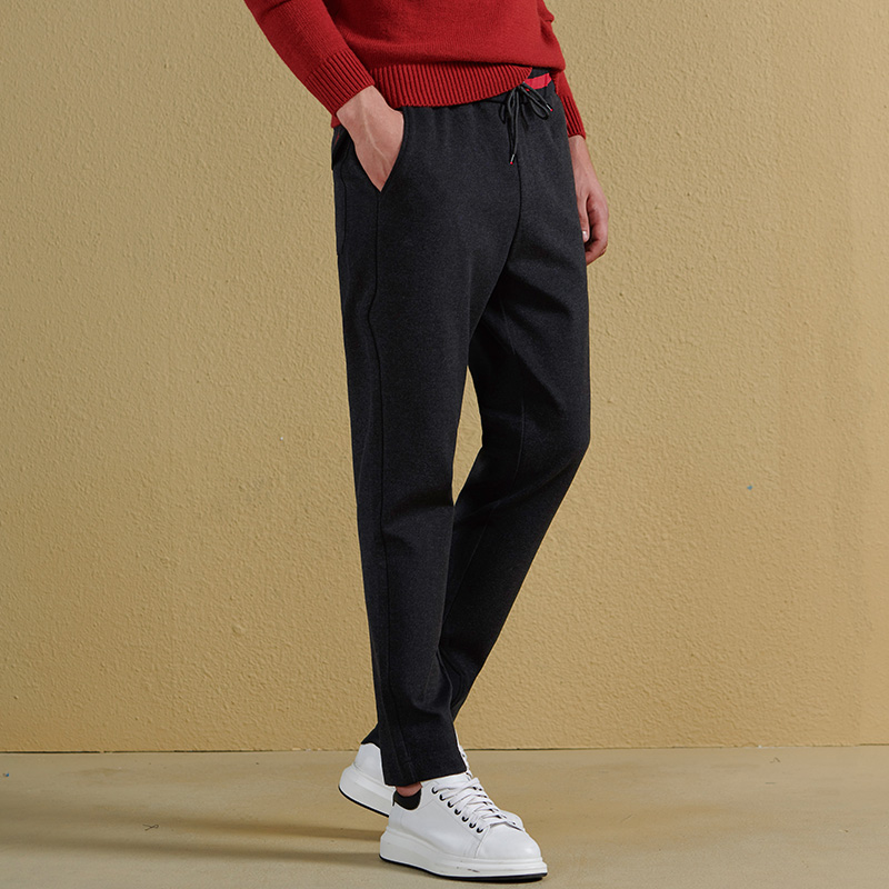 QZHIHE Men Fashion Straight Drawstring Sweatpants Male Solid Ankle length Slim Jogger Trousers Teenage Boy Elastic Pants 90033