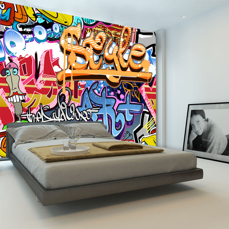 Kids Bedroom Graffiti wallpaper custom picture - more detailed picture about graffiti