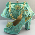 T.Green Designer Shoes and Bag Sets 2016 Decorated with Applique Shoe and  Bag Set Summer African Style Shoes and Bag Set Italy