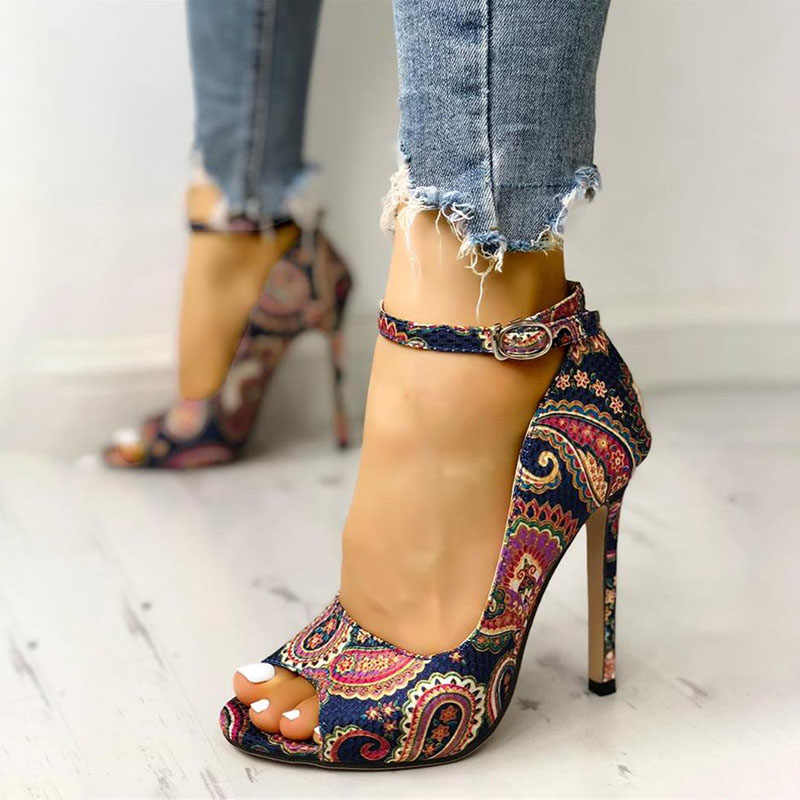 DAHOOD bayan yaz sandalet seksi zarif yüksek topuklu bayanlar artan Stiletto süper Peep Toe sandalet ayak bileği kayış bayanlar pompaları