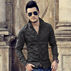 Image 3 - Черная джинсовая рубашка Для мужчин брендовые Длинные рукава стенд воротник Для мужчин рубашка с цветочным узором печати случайные slim fit camisa социальной masculina S2002