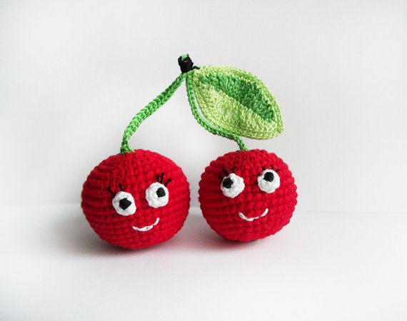 ed crochet cherries in love /Soft eco-friendly toy for baby/ For kid's room decor/ Made with love