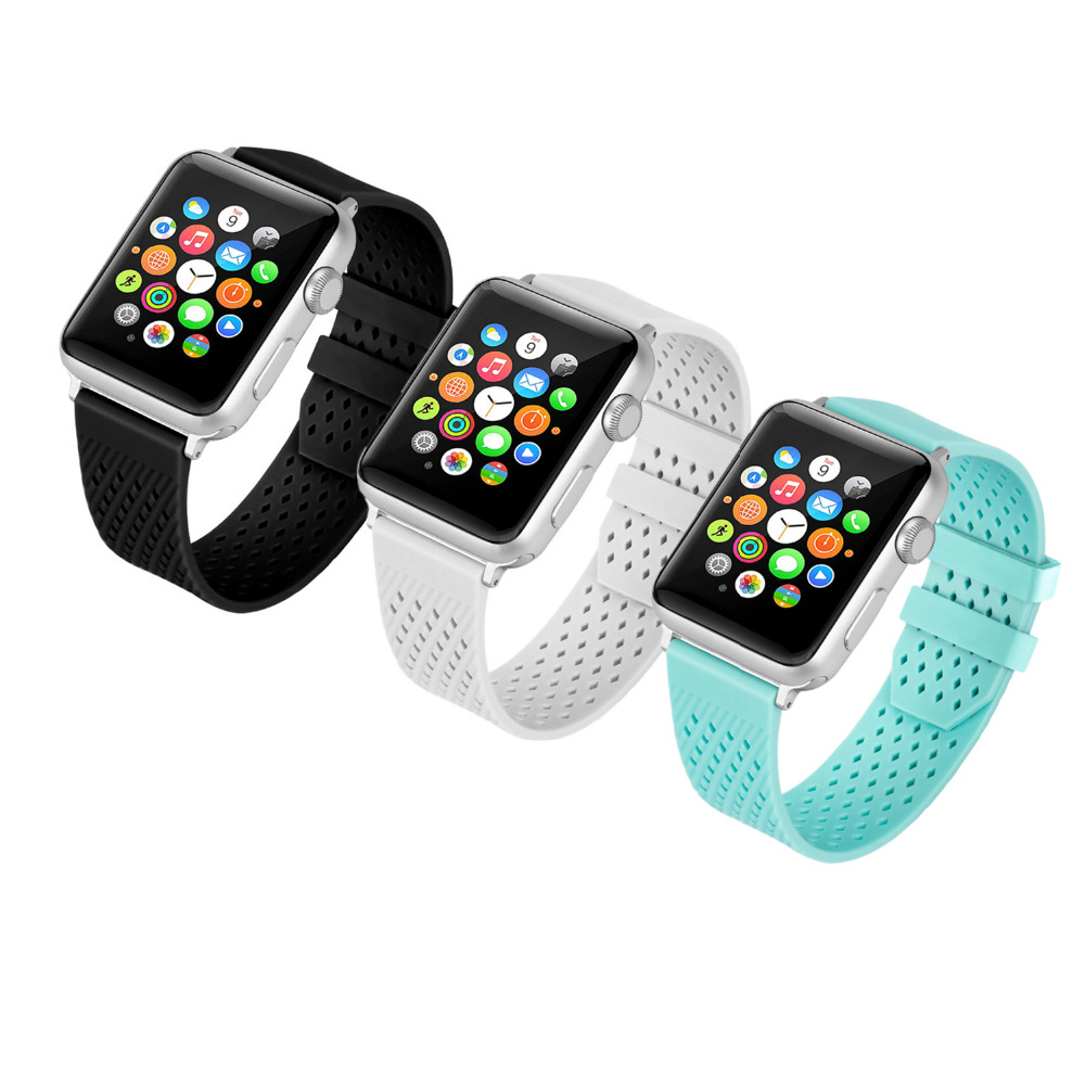 CRESTED Silicone strap for apple watch band 42mm/38mm for iwatch series 3/2/1 bracelet wrist belt Diamond rubber watchband jansin 22mm watchband for garmin fenix 5 easy fit silicone replacement band sports silicone wristband for forerunner 935 gps