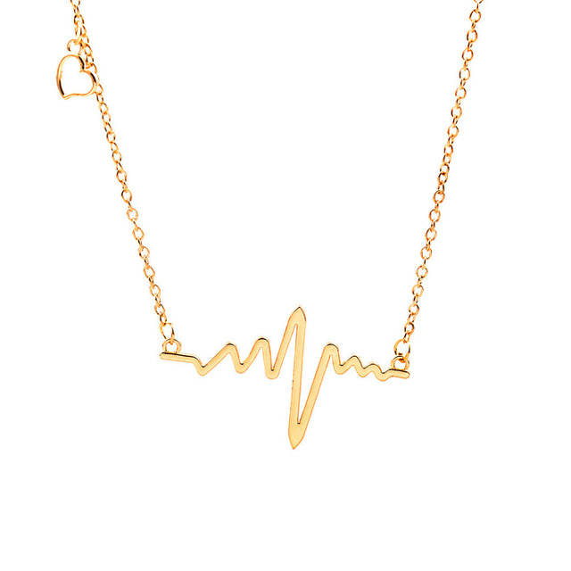 57122cd05 ECG Heartbeat Necklaces Clavicle Choker Women Men Link Chain Hollow Heart  Pendant Charm Lightning Gold Silver