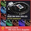Melhor preço! RGB LED Strip 5050 Luz Flexível 60LED/M 300LED 5 M SMD IP65 à prova d' água + 24key IR Remote Controller