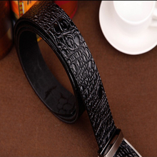 2018 good quality cow genuine leather belts for men alligator pattern automatic buckle mens belt  original brand