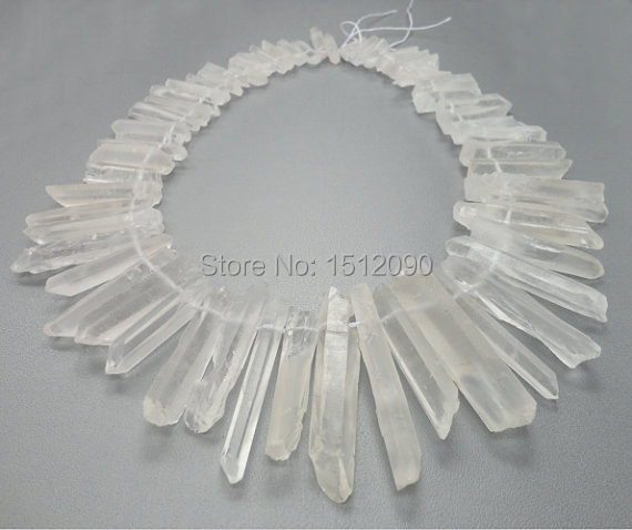 48pcs/strand Natural Raw Clear White Quartz Crystal Point Pendant,Tusk Crystal Bead,Top Drilled Crystal Spike Beads 6-8x22-48mm 6pcs natural fluorite quartz crystal wand point healing