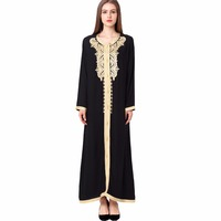 Women Maxi Long Sleeve Long Dress Embroidery Moroccan Kaftan Caftan Jilbab Islamic Abaya Muslim Turkish Arabic