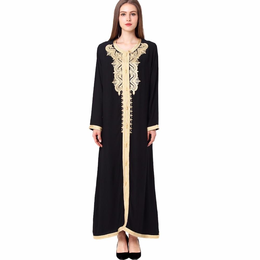 Vrouwen maxi lange mouw lange vintage jurk plus size borduurwerk Marokkaanse kaftan islamitische kleding moslim jurk vloer lengte jurk