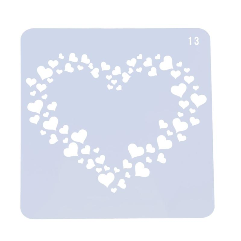 Heart Shaped Stencil for DIY Scrapbooking Plastic Painting Drawing Template Photo Album Decorative Tools Stationery Craft Supply