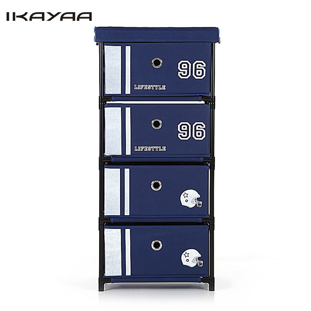 Ship From US/UK/FR Antique Style Fabric 4-Drawer Home Office Storage Cabinet Organizer for Clothes Toys Sockets Storage Box