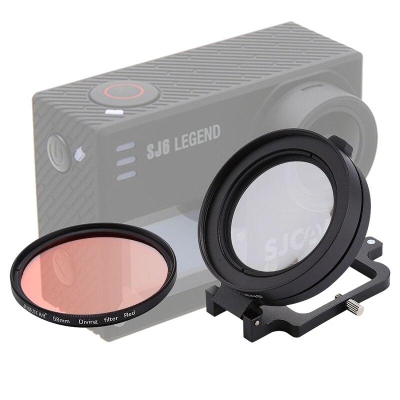 58mm 16X lente Macro + buceo rojo lente con lente cubierta + lente filtro anillo adaptador + String + paño de limpieza