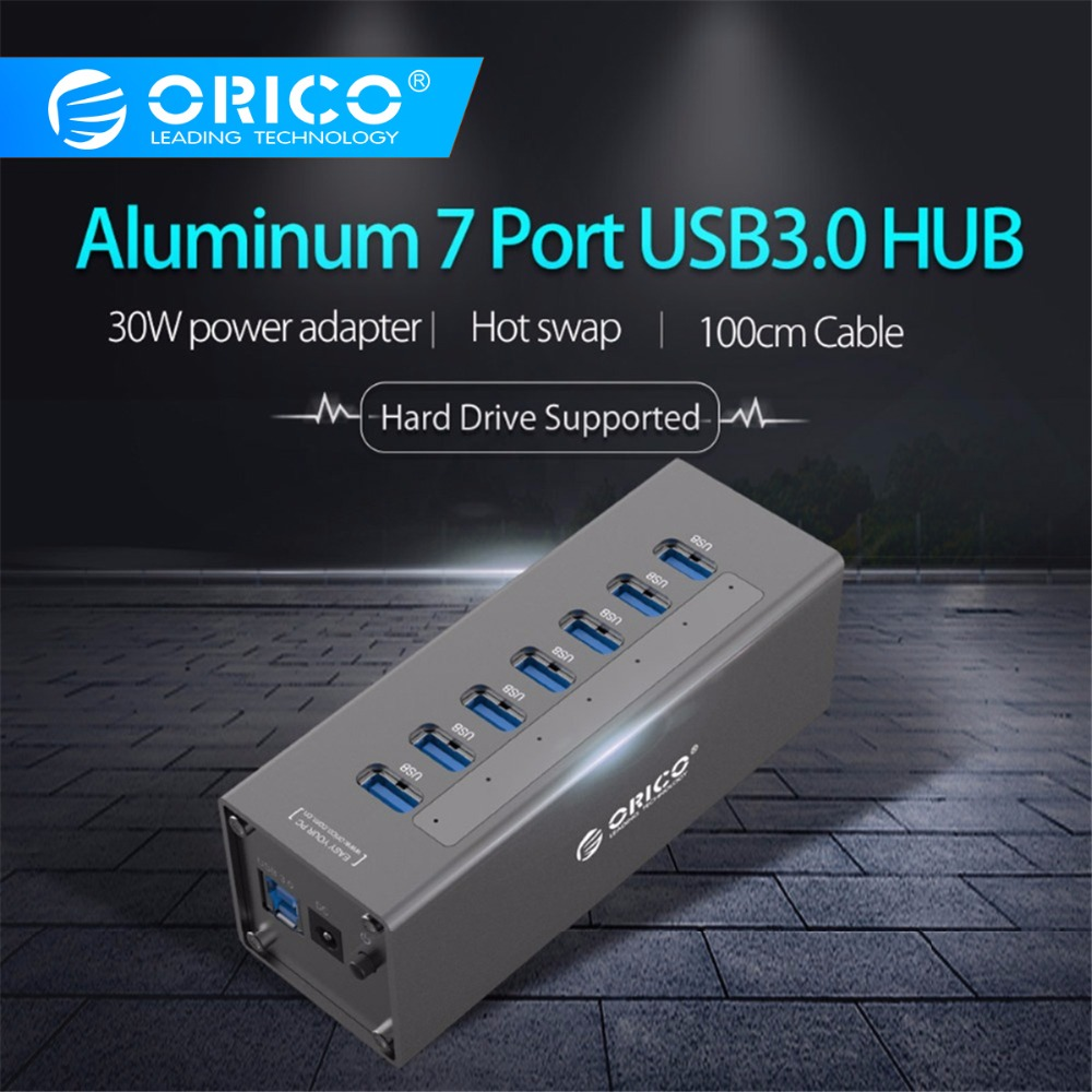 ORICO USB3 0 HUB Aluminum Super Speed 7 Ports Usb Splitter with 12V 2 5A Power