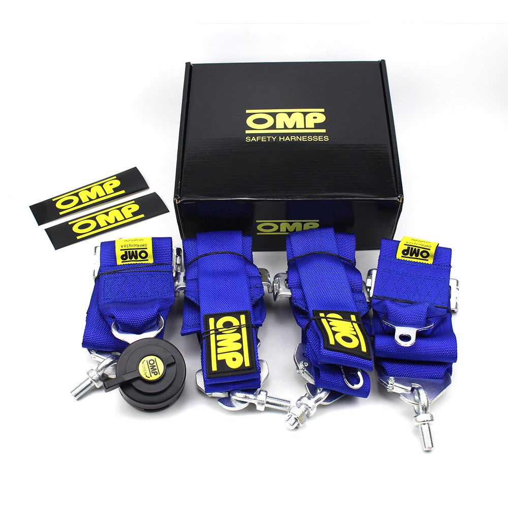 Universal 4 Point OMP Racing Harness Blue Black Red Racing OMP Seat Belt With FIA 2014