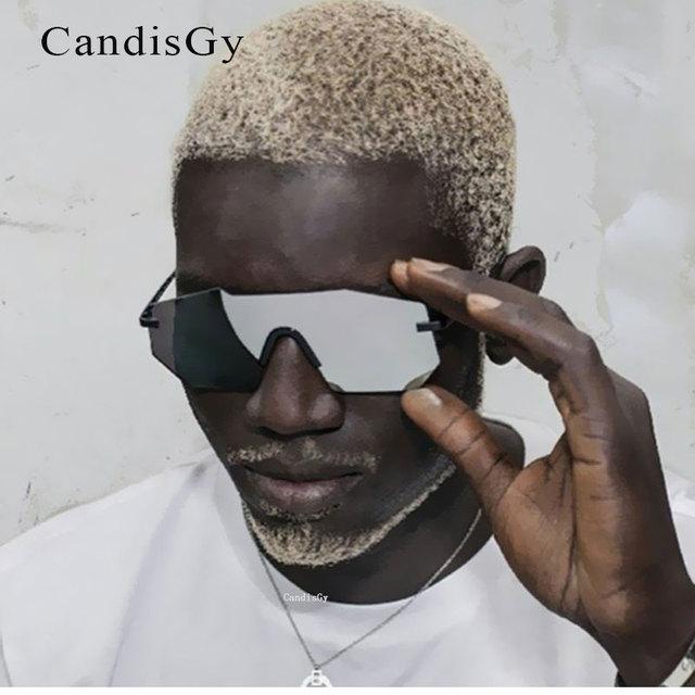 7368243d17 2019 de Moda hombre Robot Estilo Vintage Gafas de sol hombres lente plana  sin montura Irregular