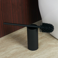 Black Toilet Brush Set Cleaning Cup With Base Free Installation Standing Style Bathroom Hardware Sanitary Products