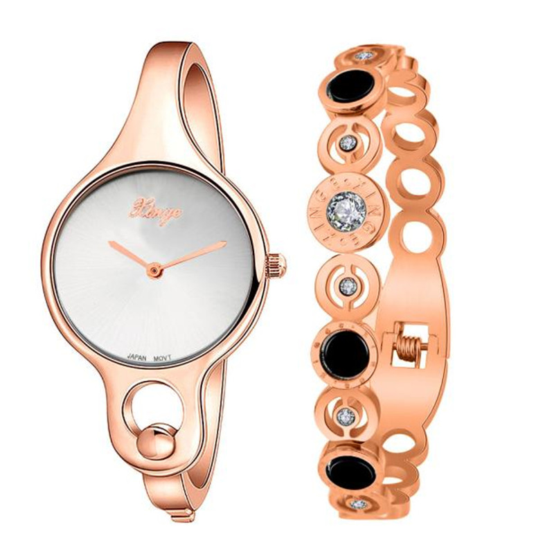 Women Watches Female Gold Dress Watch s feminino Women Gold Rhinestone Bangle Watch And Bracelet Set 2017 montre femme 0621