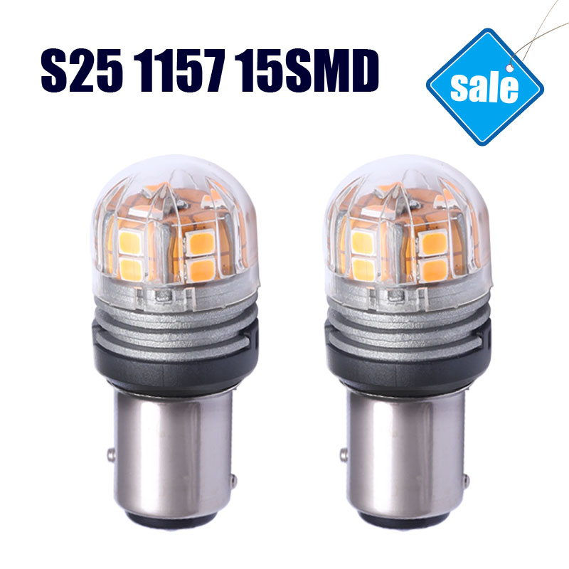 S25 1157 BA15D Automobile LED Light Source Brake Light Signal Lamp Factory Sale Cars Bulbs Brightest 3000K Yellow Lights
