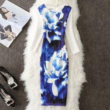 VENFLON Spring Summer Dress Women 2019 Plus Size 4XL Casual Sexy Office Bodycon Dress 3/4 Sleeve Floral Party Dresses(China)