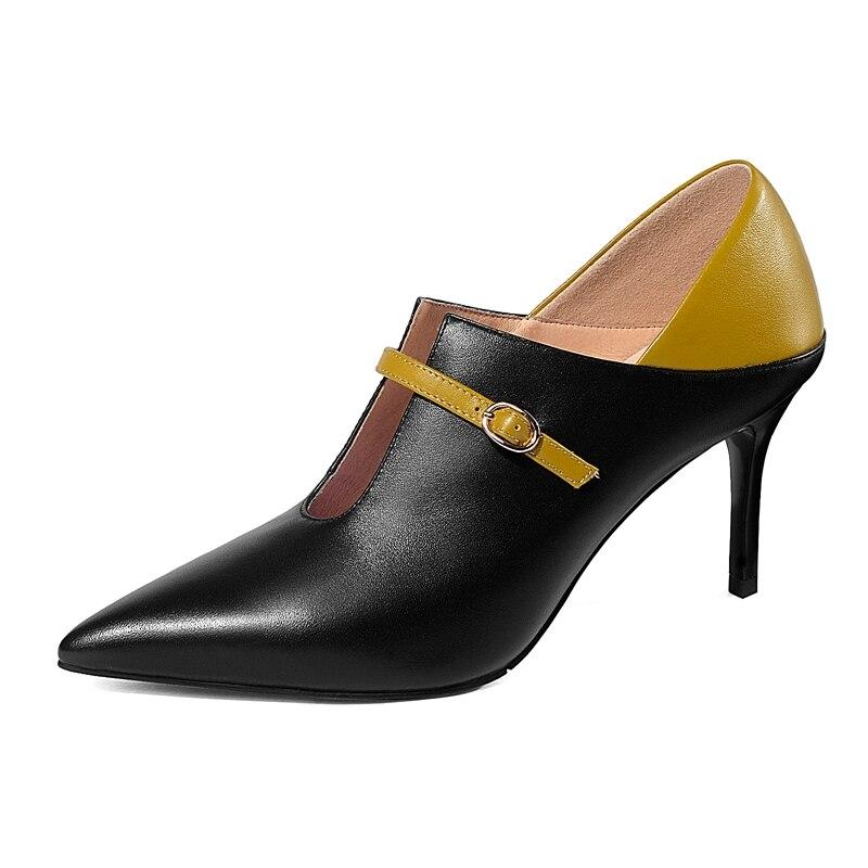 black Minces Véritable 39 Sangle En Talons Chaussures Femmes Hauts 34 Zyl2063 Cuir Pour Apricot Décontracté Boucle Enmayla Bout Taille Pointu F1cKTlJ